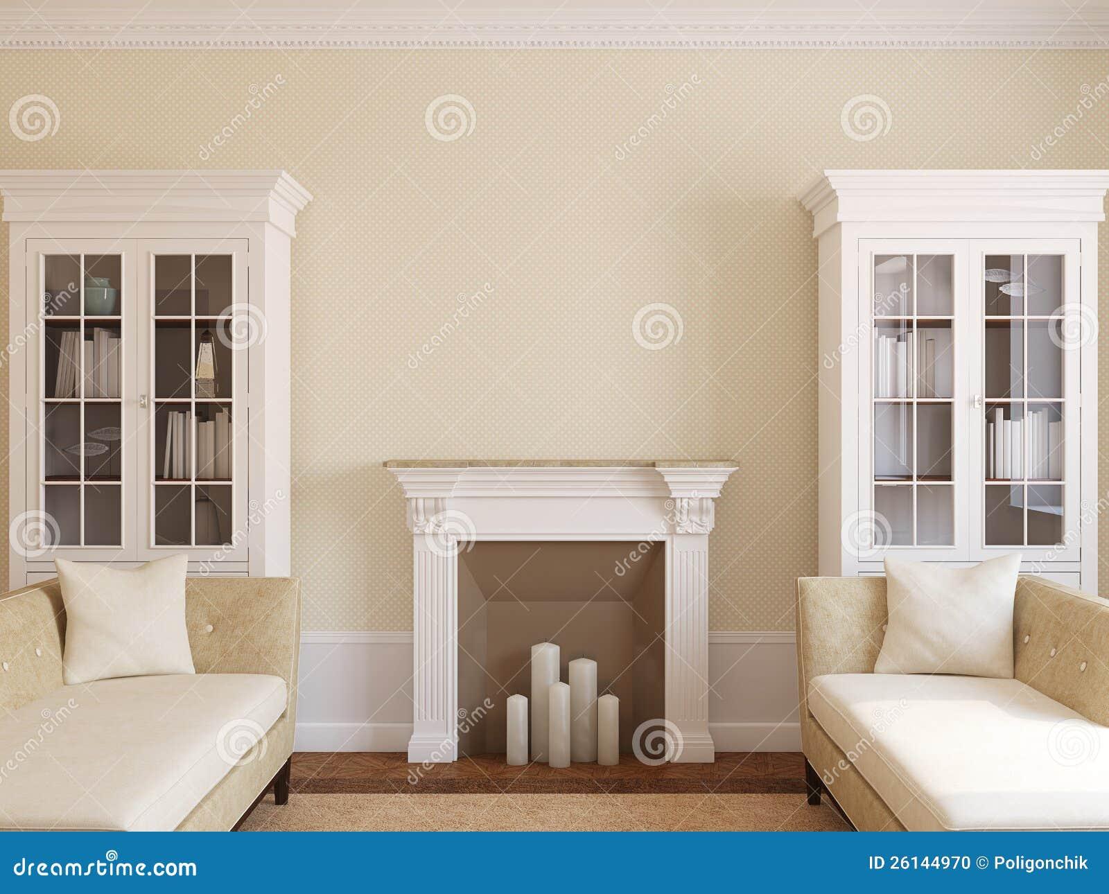Modern living-room med spis.
