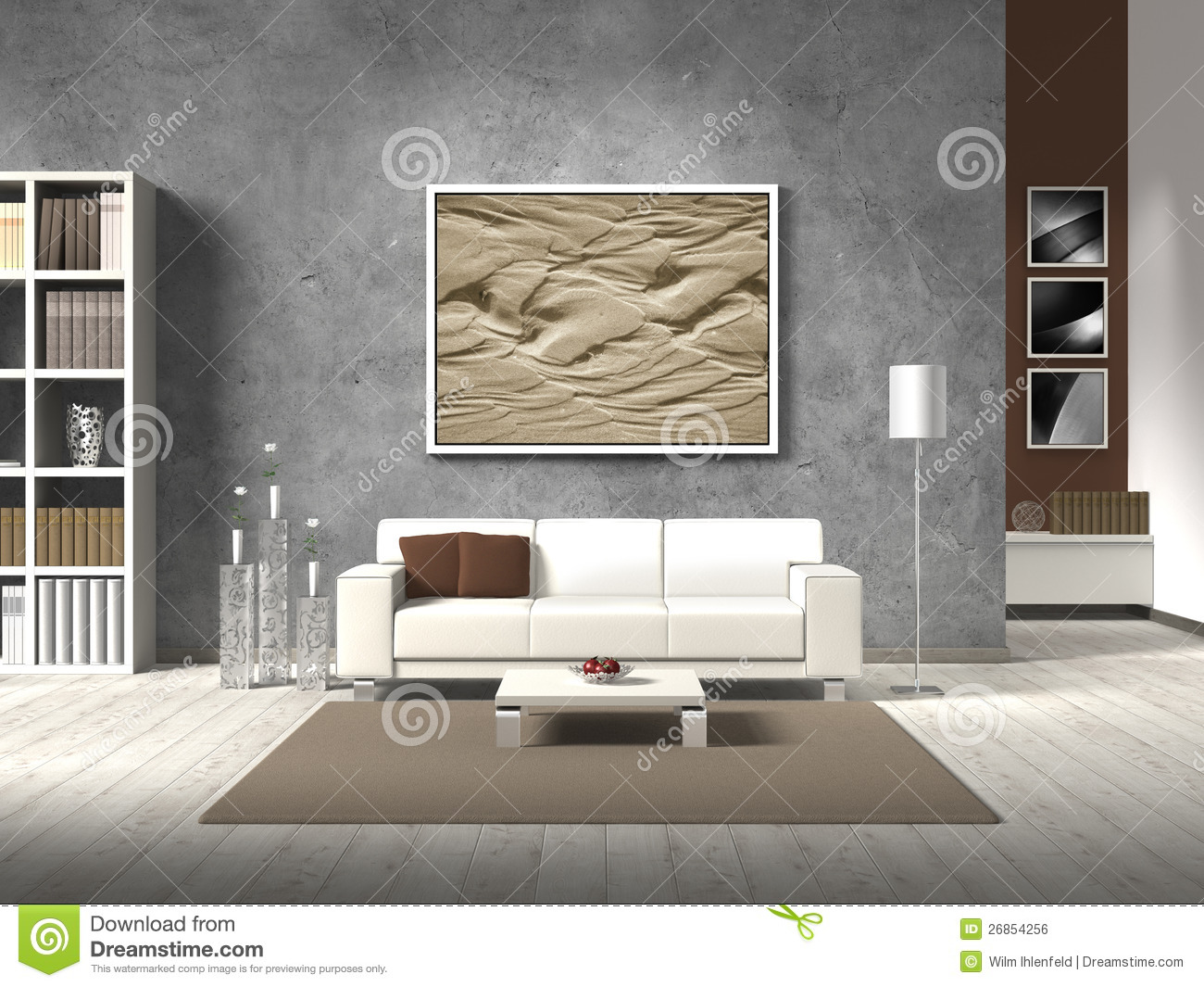 modern living room in natural colors royalty free stock