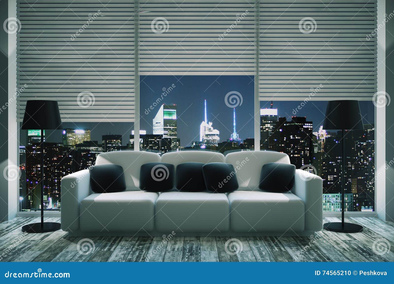 Modern living room at night stock illustration for Modern front room