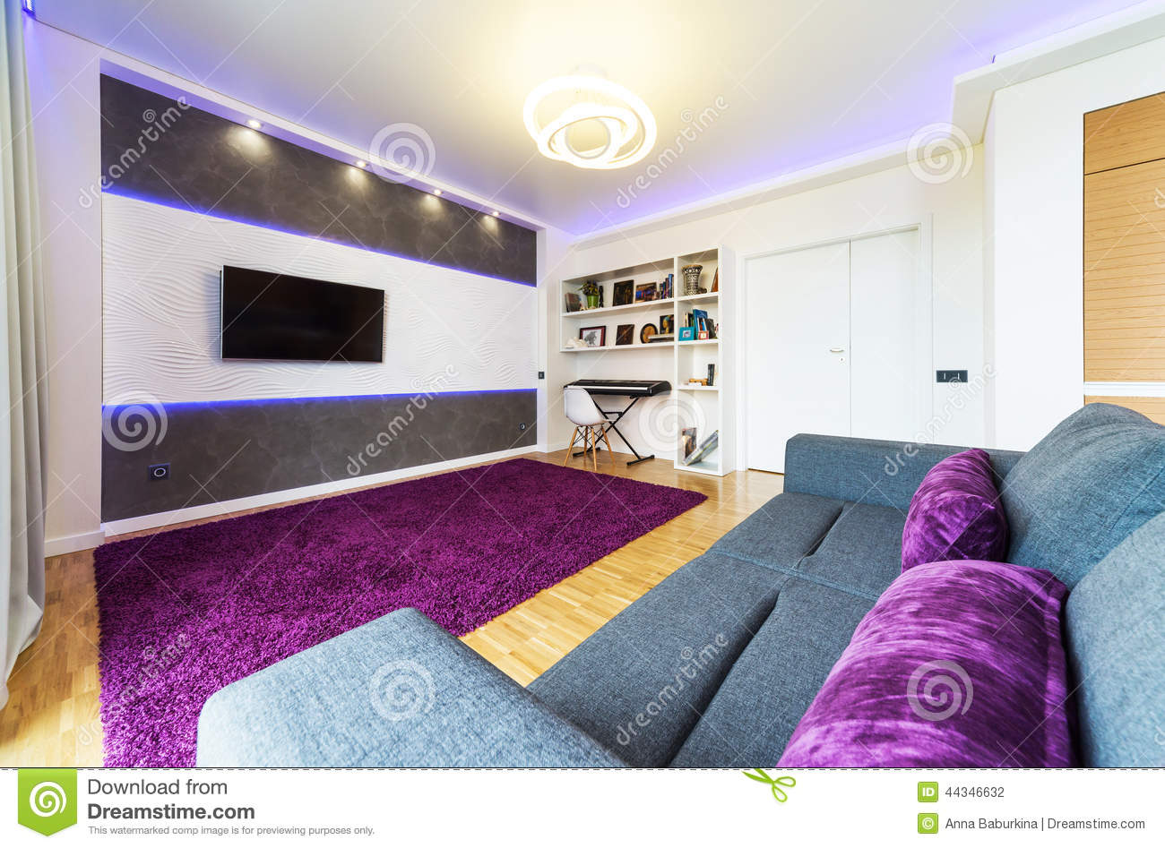Living Room Night a modern living room with night light. stock photo - image: 44346573