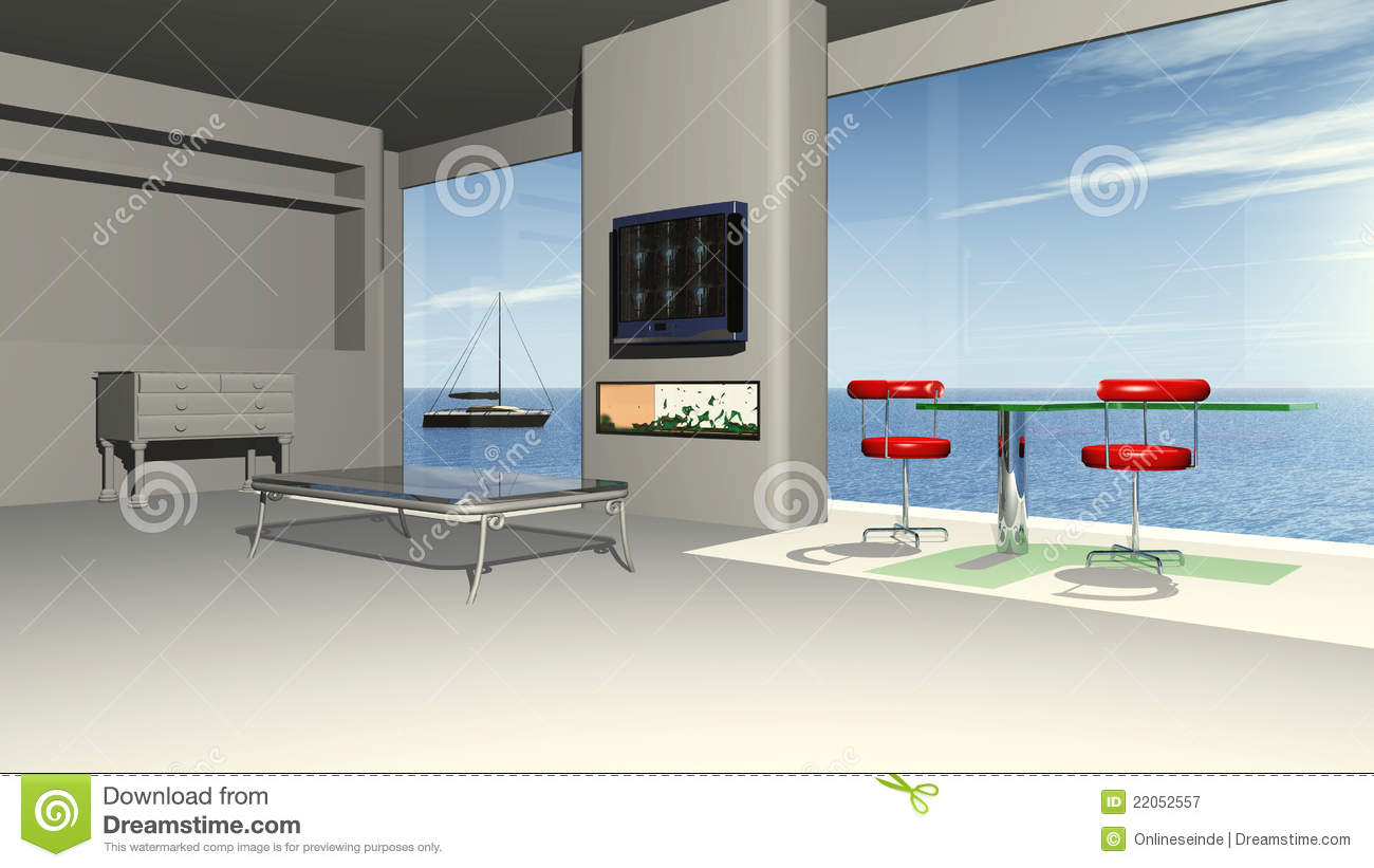 Modern living room with a panorama view to the sea stock for Modern living room with view