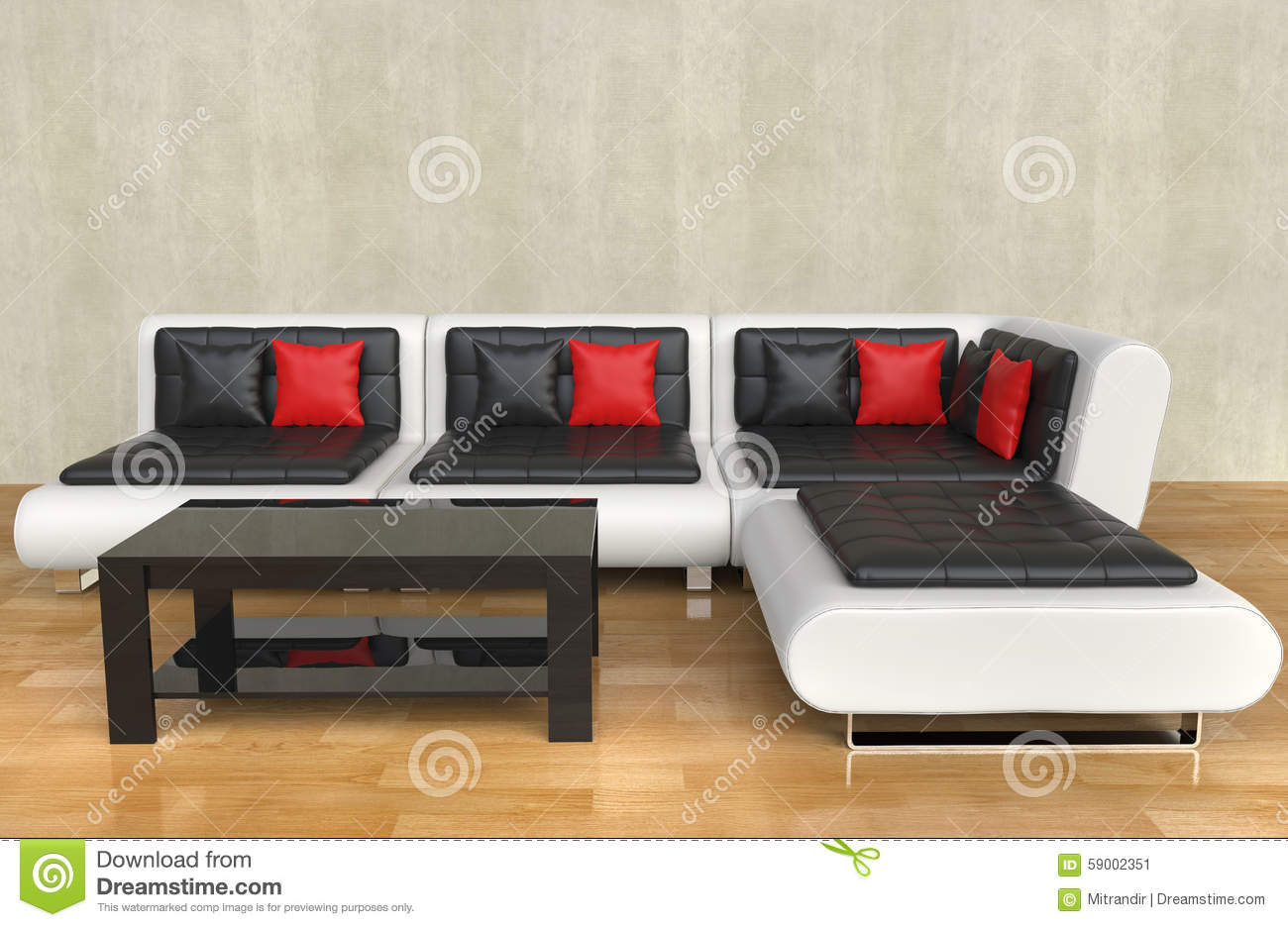 Pleasing Modern Living Room Red Pillows Stock Illustration Caraccident5 Cool Chair Designs And Ideas Caraccident5Info