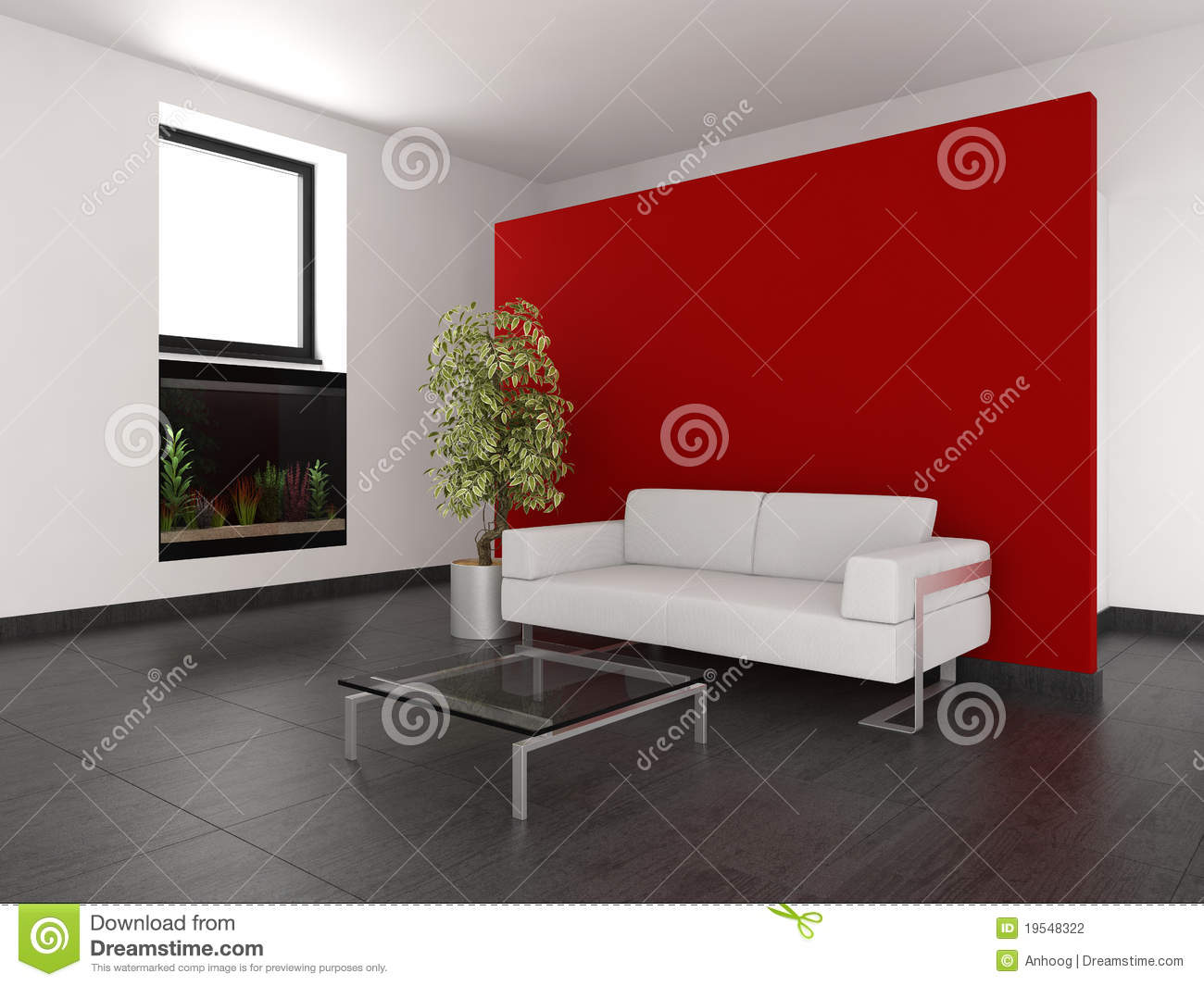 Modern Living Room With Red Wall And Aquarium Stock Photography ...