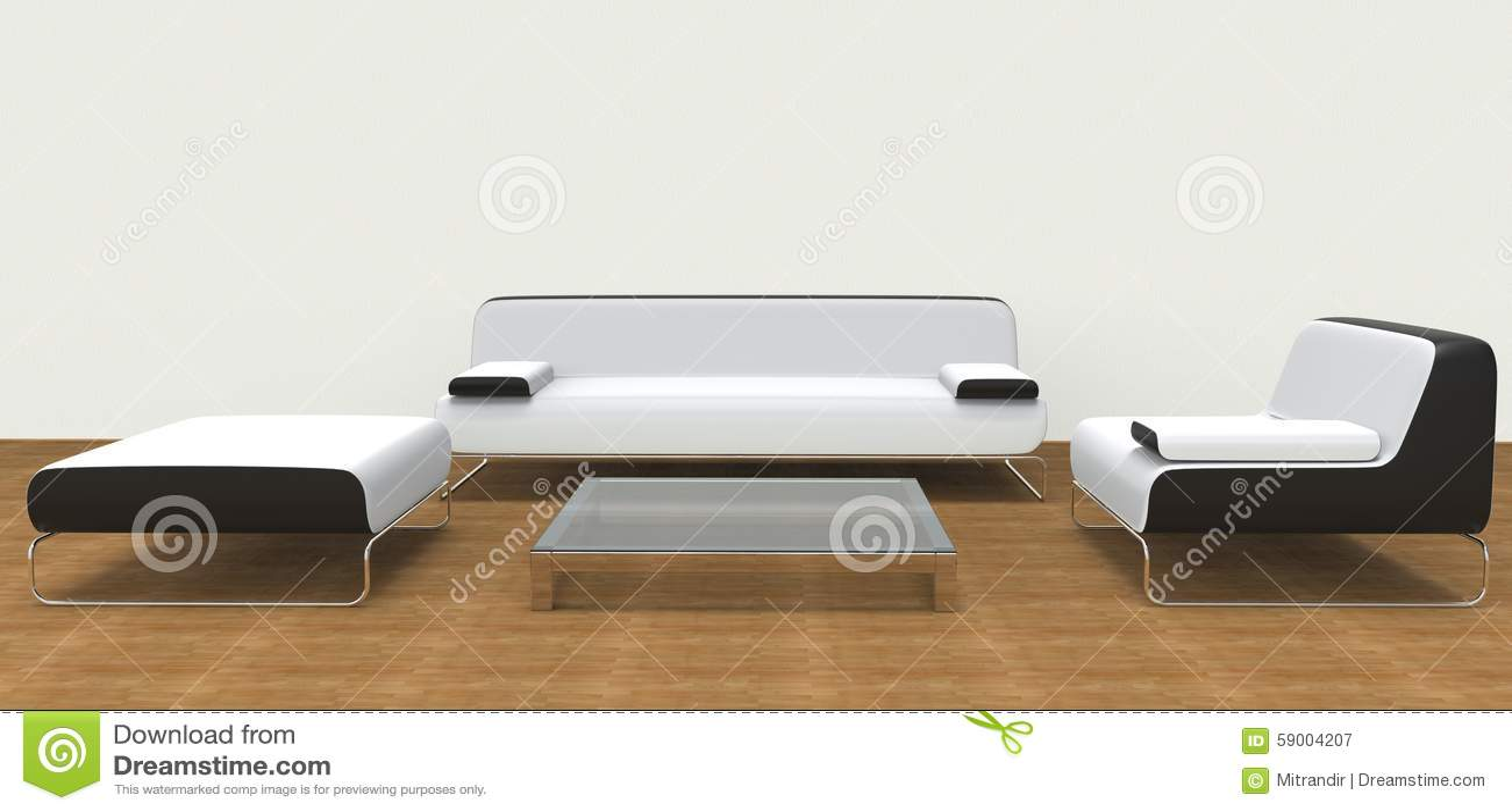 Modern Living Room Set White Stock Image - Image of minimalist ...