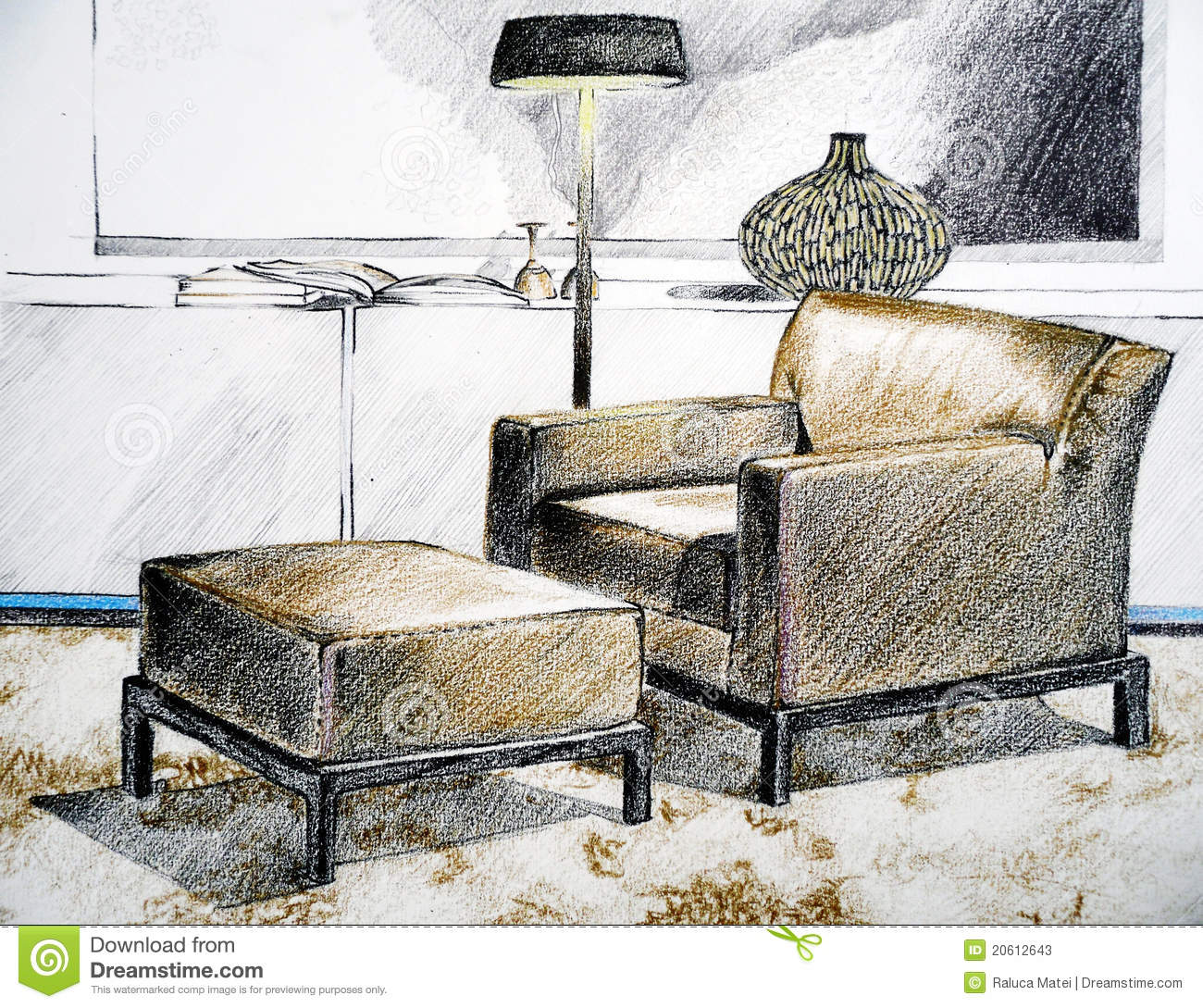 Sketch Of Modern Living Room Chair