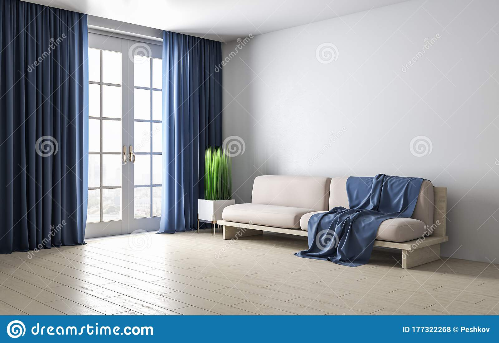 Modern Living Room With Sofa Curtains And Window Stock Illustration Illustration Of Armchair Background 177322268