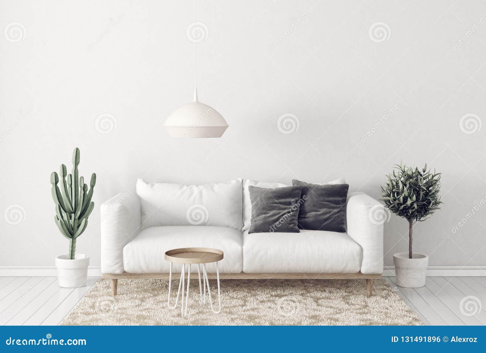 Modern Living Room With Sofa And Lamp. Scandinavian Interior ...