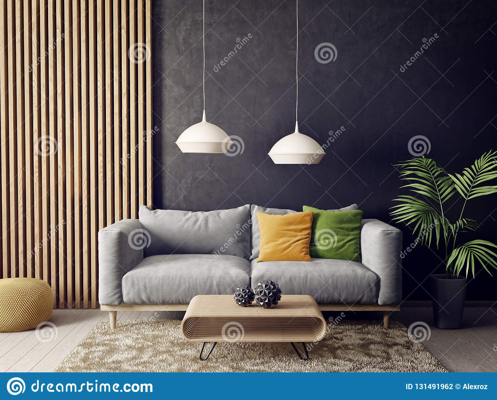 Modern Living Room With Sofa And Lamp. Scandinavian Interior ...