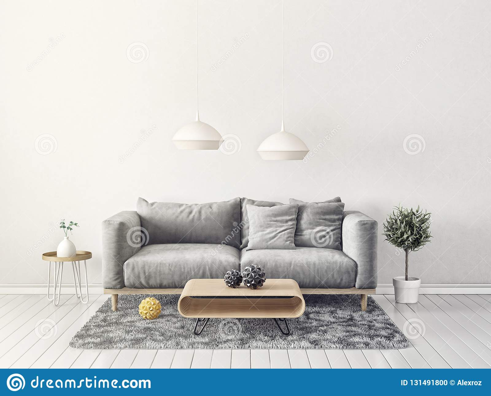 Modern Living Room With Sofa And Lamp Scandinavian Interior