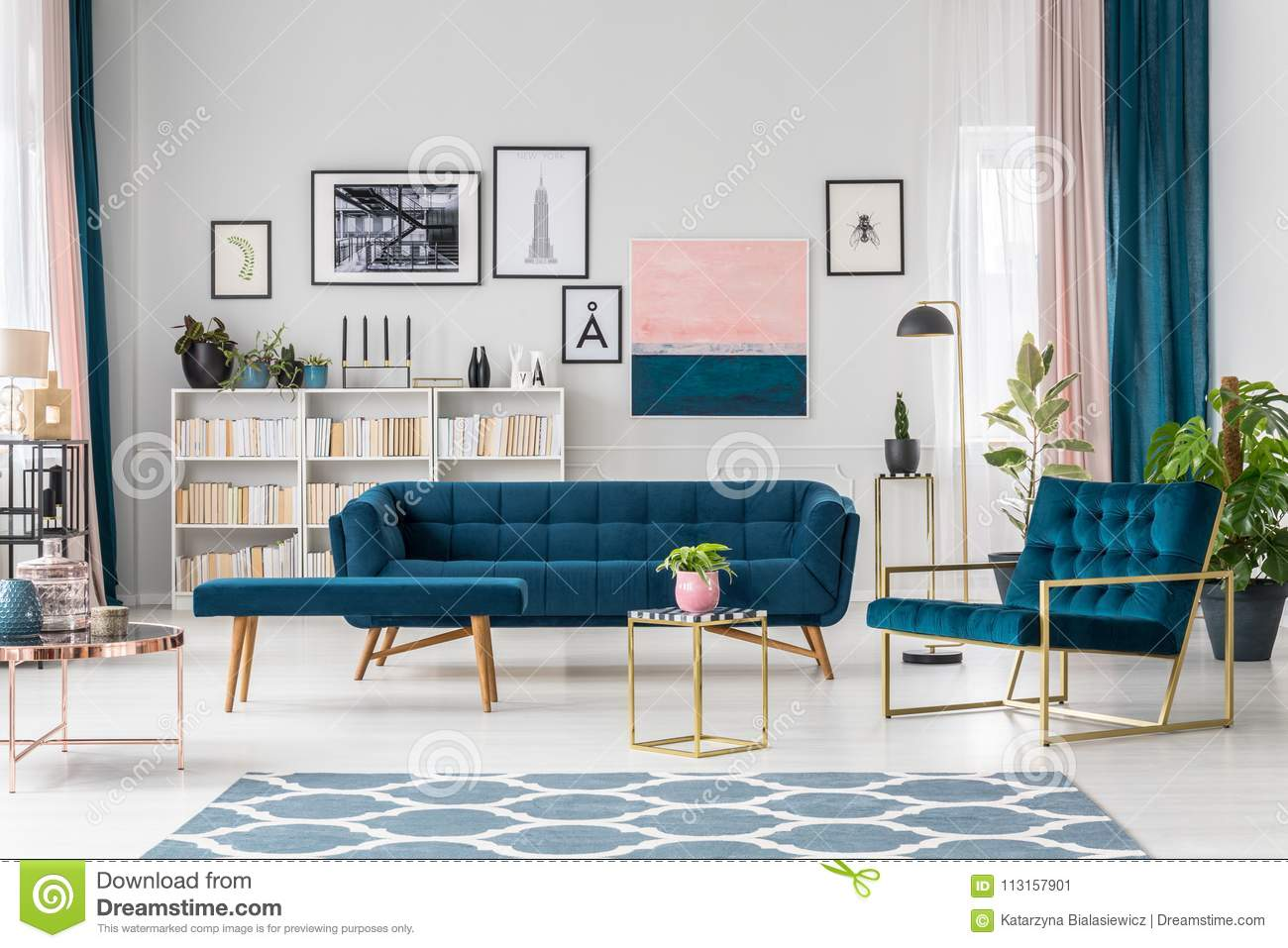 Modern Living Room With Sofa Stock Image Image Of Emerald Home 113157901