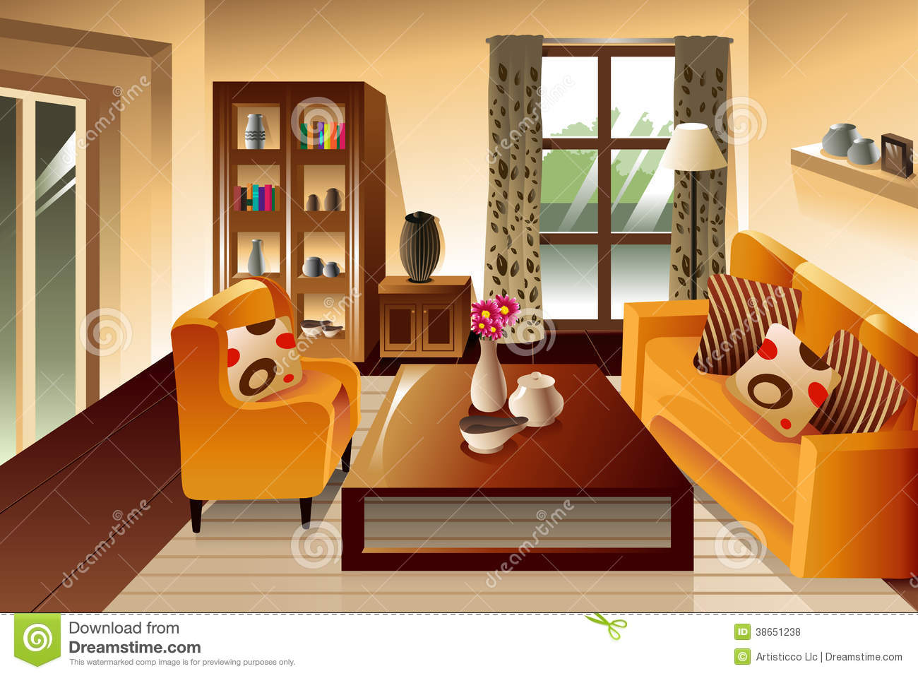 Modern Living Room Space Stock Vector Illustration Of Art