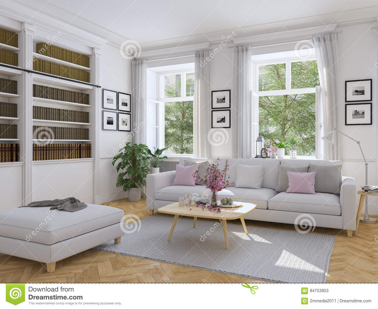 Download Modern Living Room In Townhouse. 3d Rendering Stock Image   Image  Of Contemporary,
