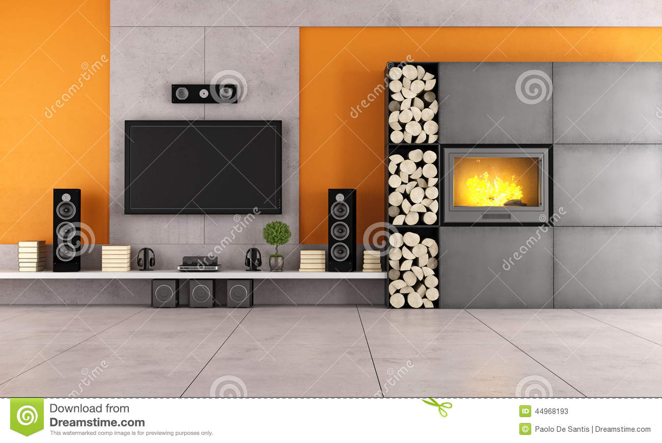 Modern Living Room With Tv And Fireplace Stock Illustration