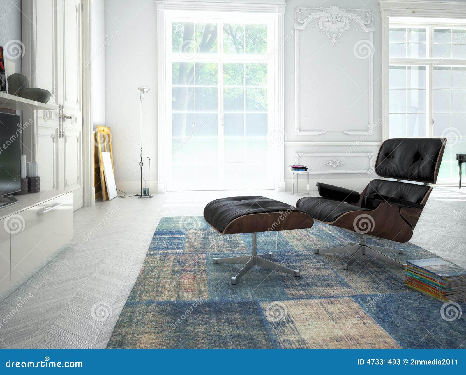Modern Hifi modern living room with tv and hifi equipment 3d stock image