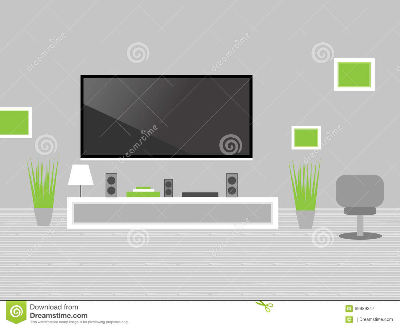 Modern Living Room With Tv Stock Vector Image 69989347