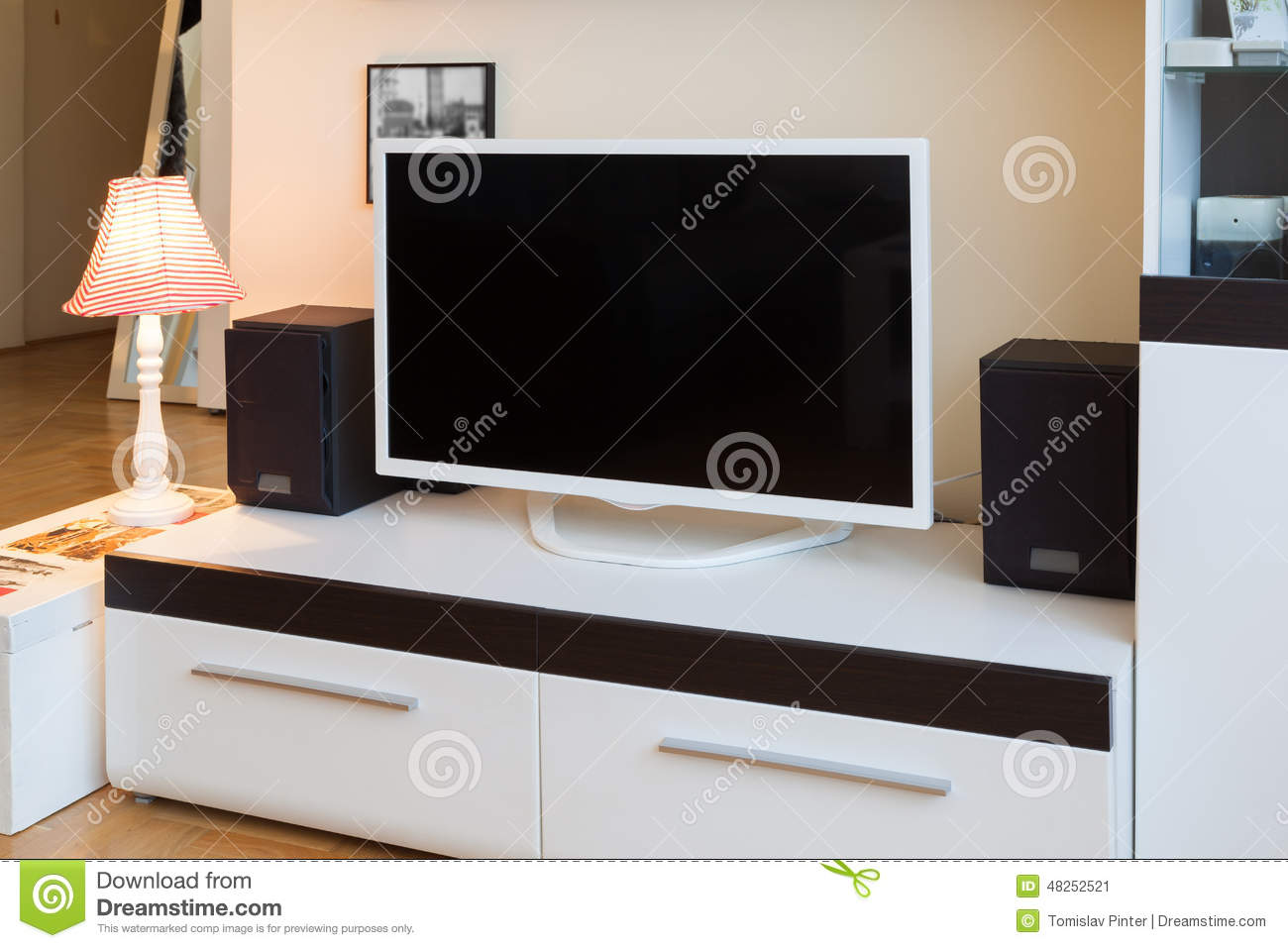 Modern Living Room Tv And Speakers Stock Image Image 48252521