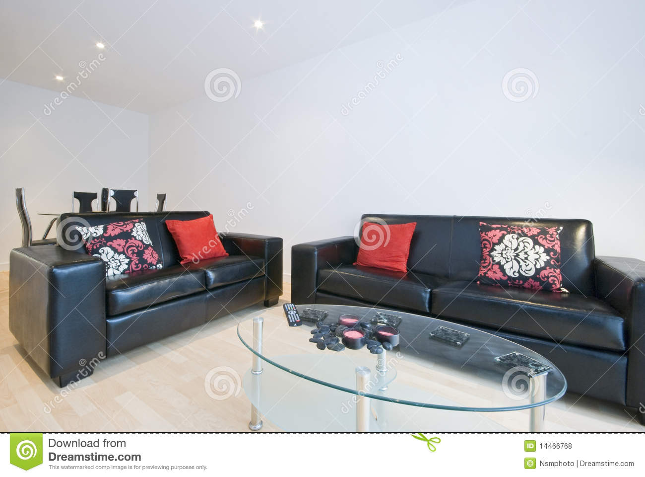 Modern Living Room With Two Leather Sofas Stock Photo ...