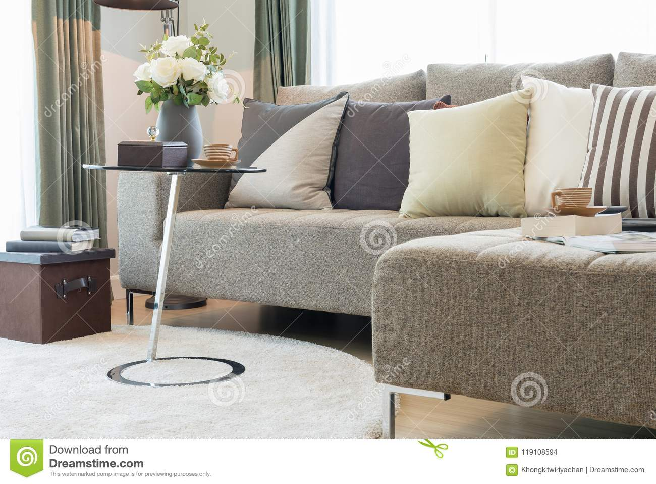 Modern Living Room With Vase Of Plant Stock Photo - Image Of Estate, Comfortable: 119108594