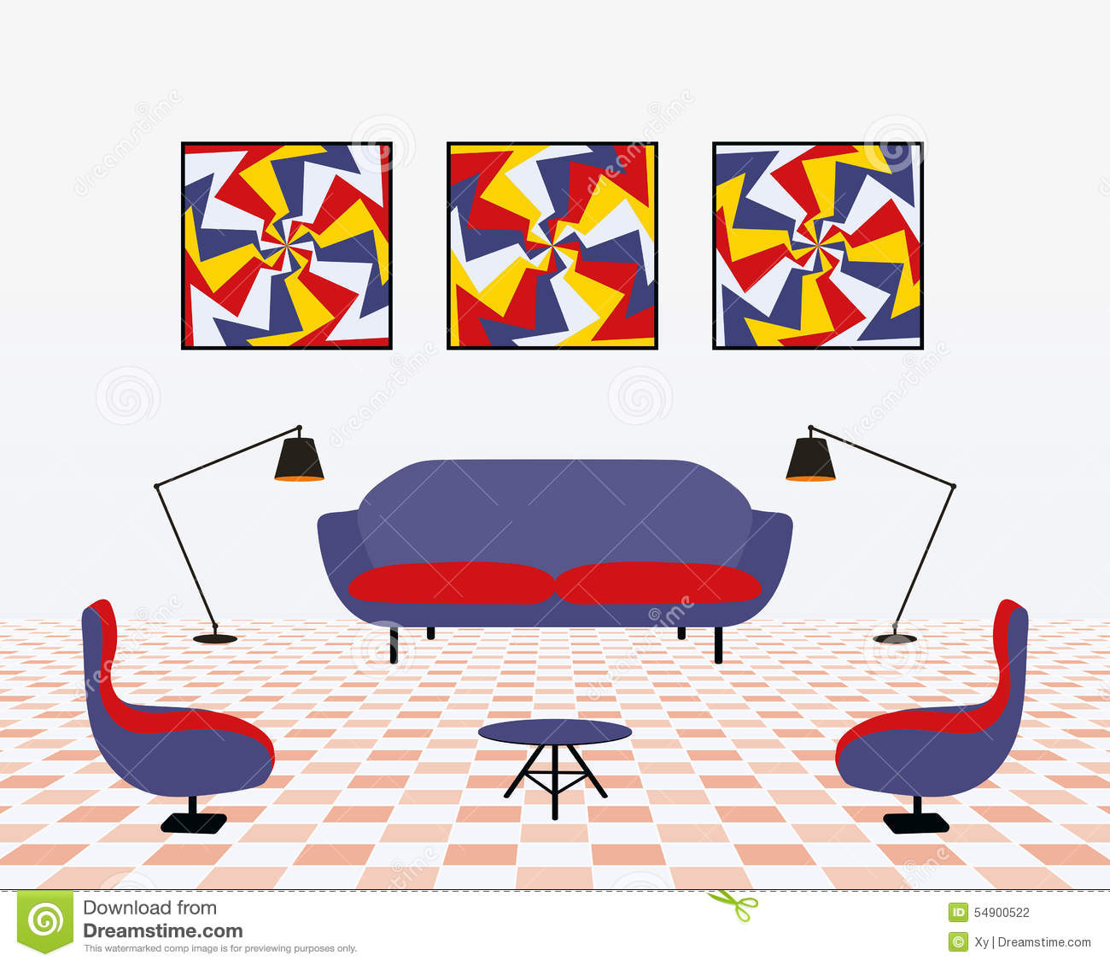 Modern Living Room Stock Vector Image 54900522