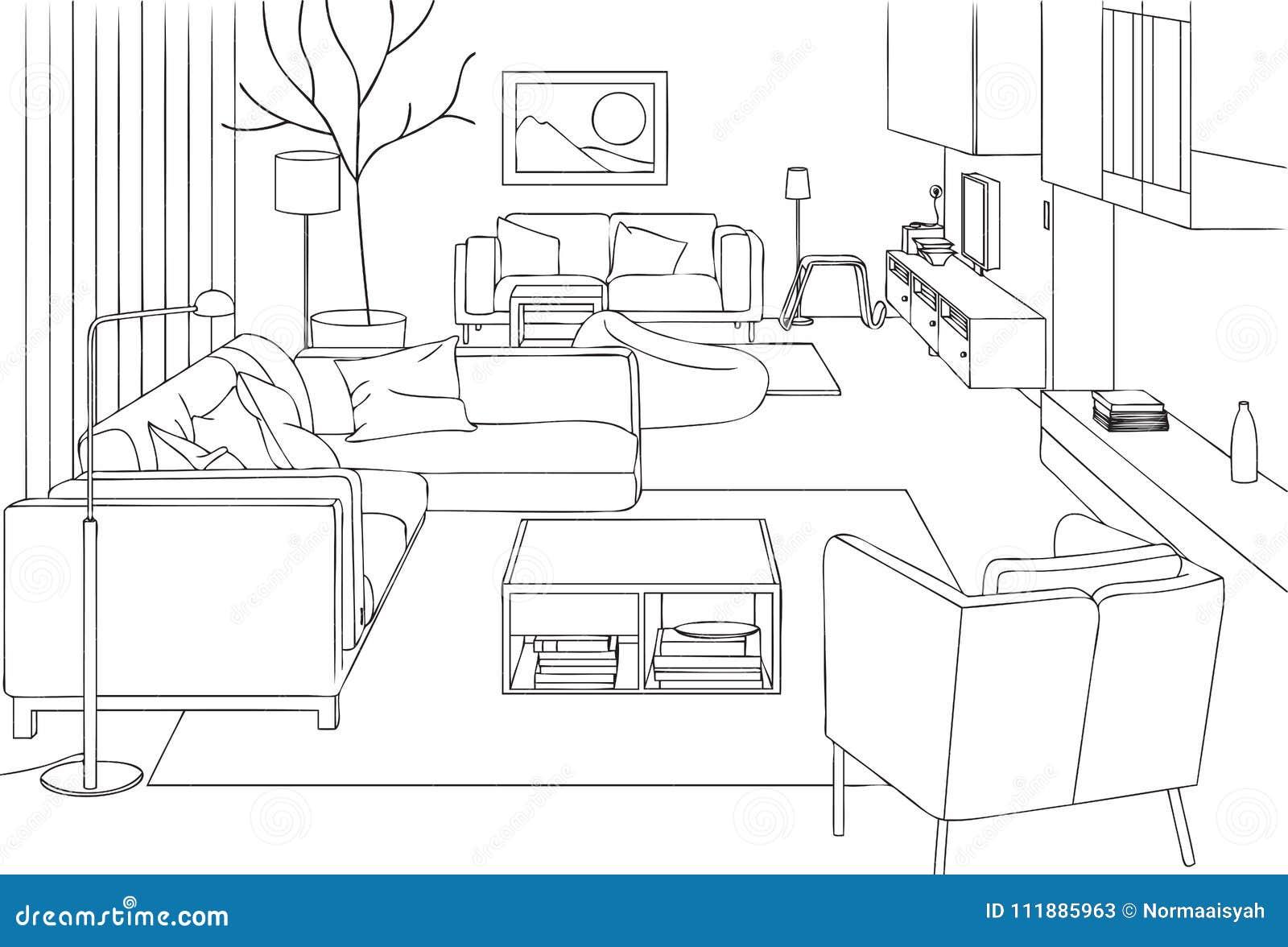 . Modern Living Room Vector Line Art Illustration Stock Illustration