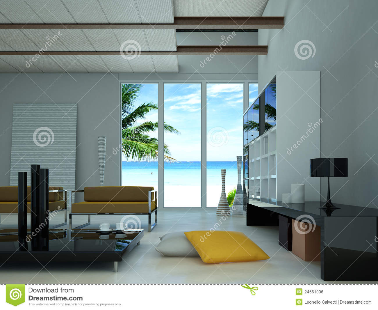 Modern living room with view on a beach stock photo for Living room view