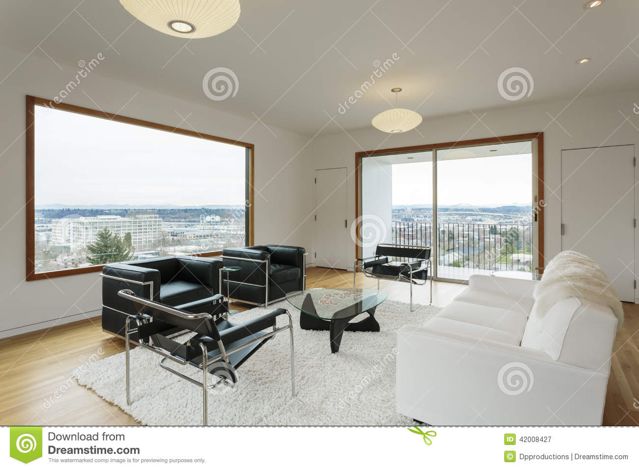 Modern Living Room With View In Daytime Stock Photo
