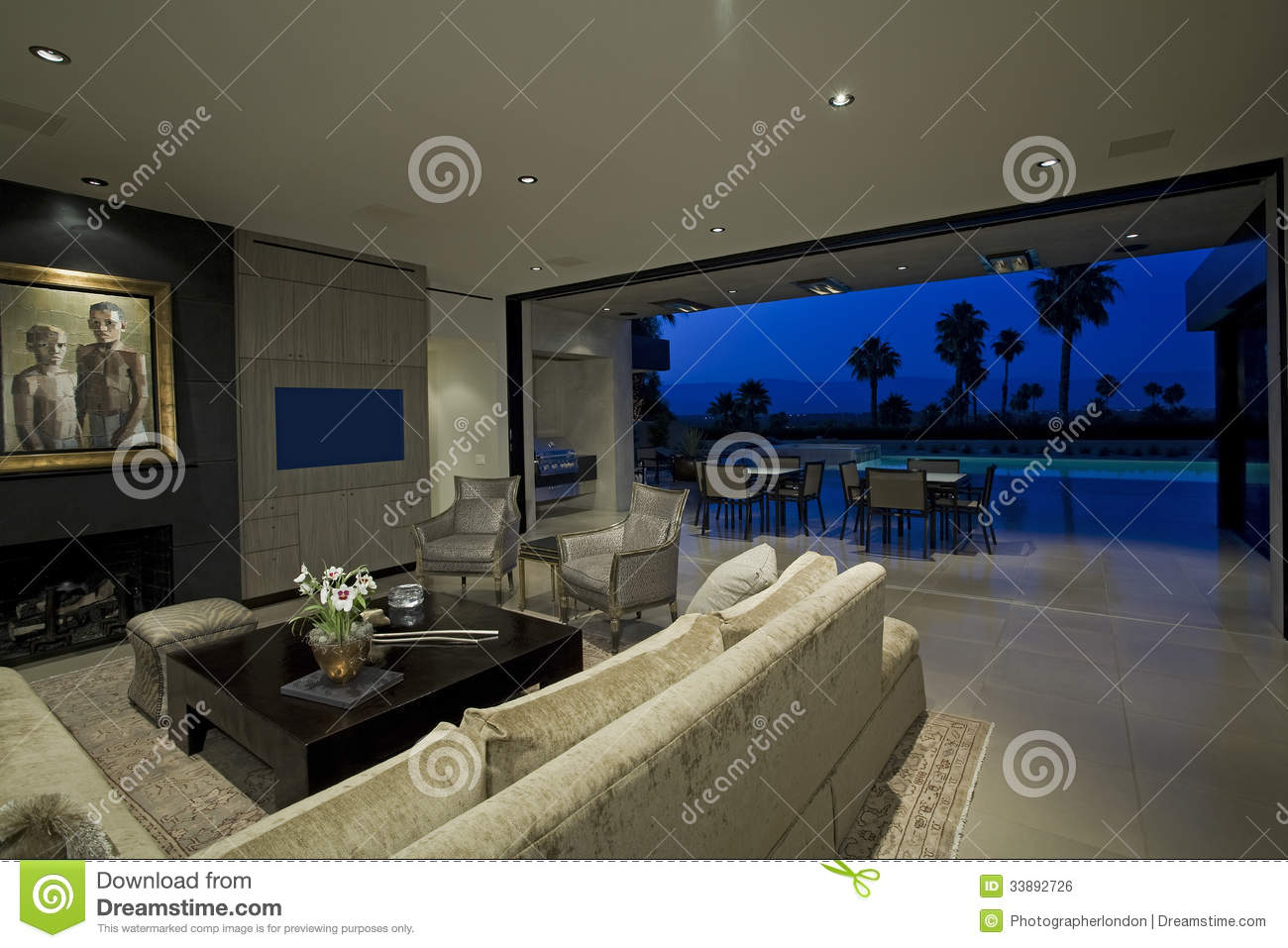 Modern Living Room With View Of Patio Stock Photo Image