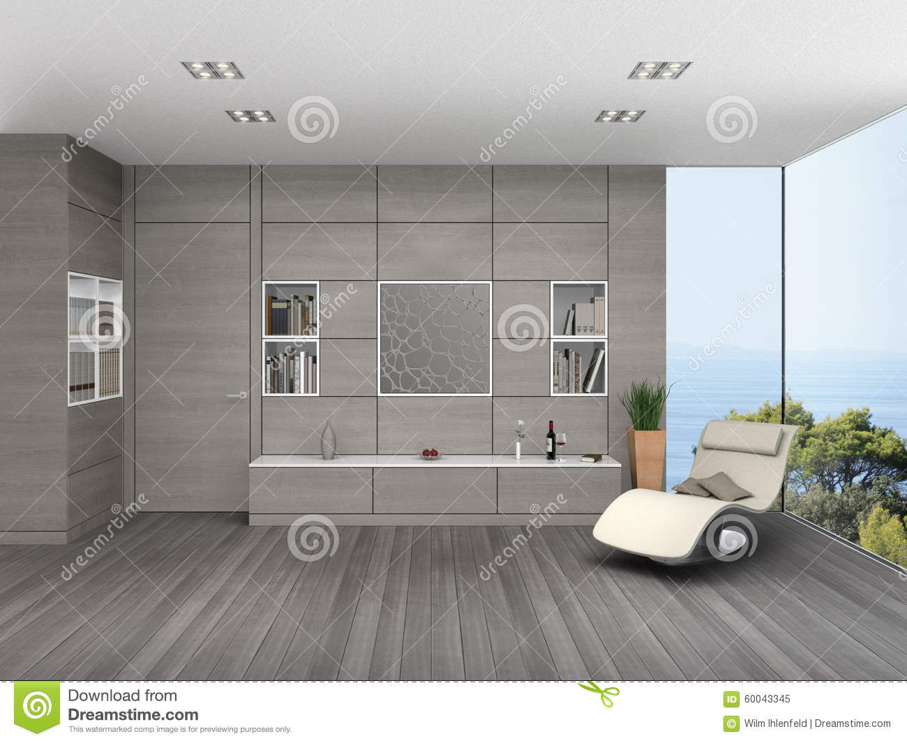 Modern Living Room With Wooden Wall Cladding Stock Illustration Image 6004