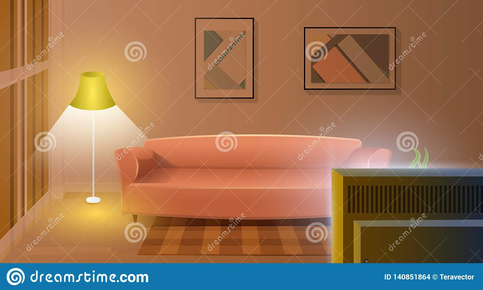 Modern Living Room With Working TV Cartoon Vector Stock ...