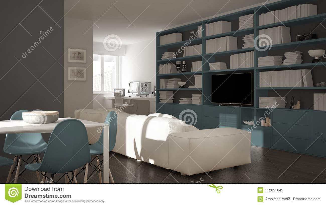 Download Modern Living Room With Workplace Corner, Big Bookshelf And Dining  Table, Minimal White