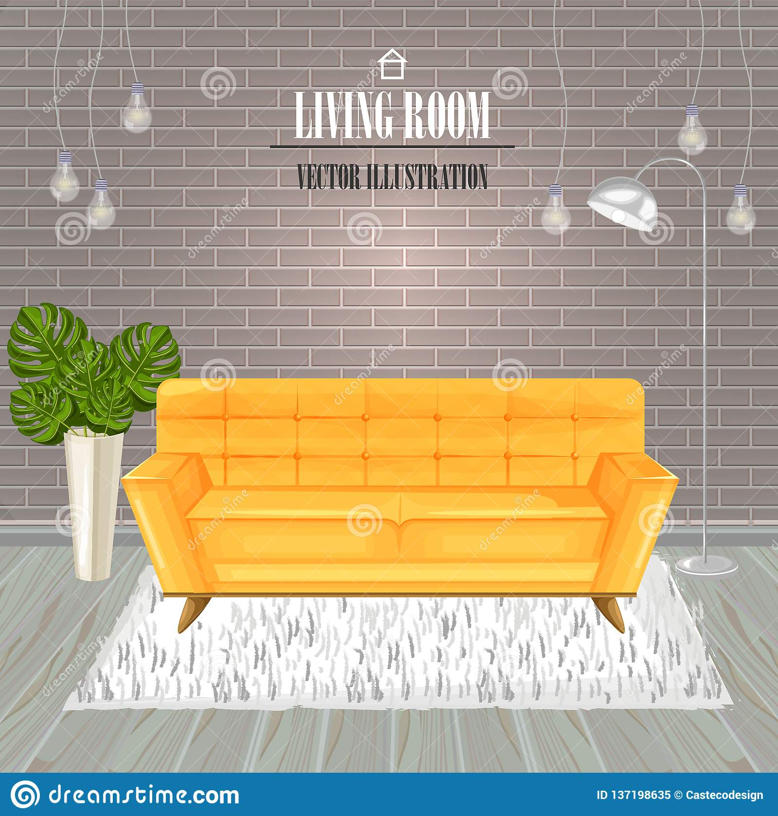 Modern Living Room Yellow Sofa Watercolor Vector. Interior ...