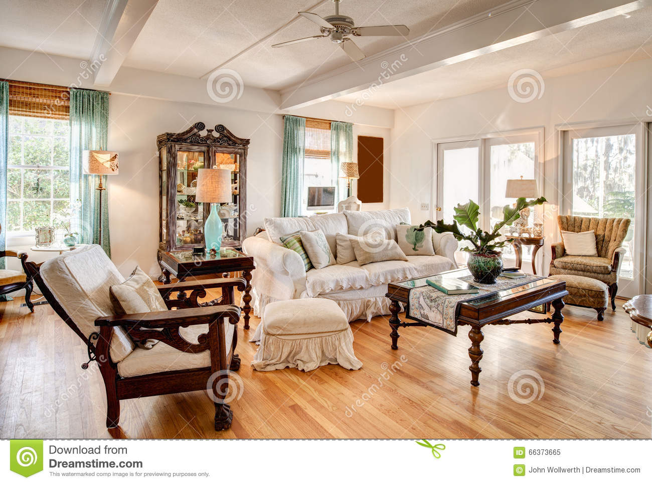Modern livingroom with antiques stock image image of couch