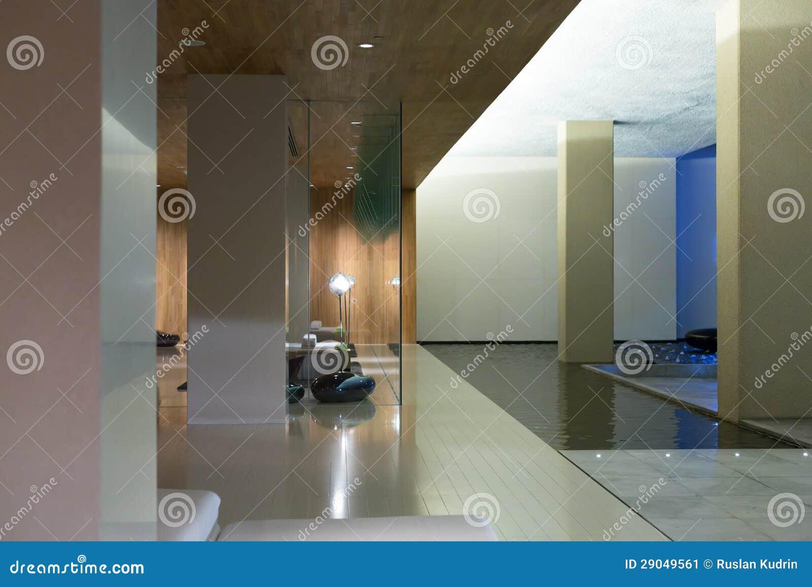 Modern lobby för hotell för fem stjärnor