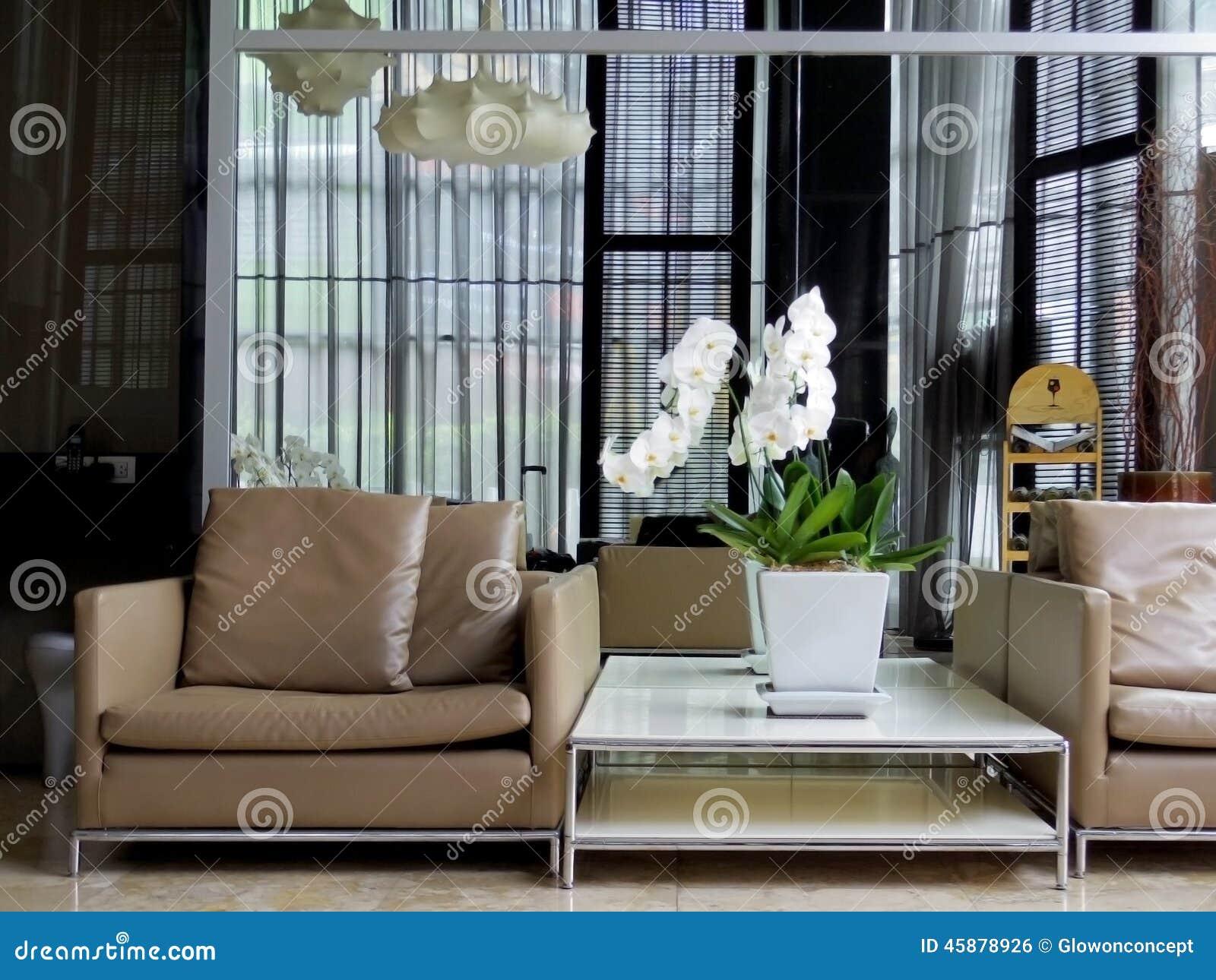 Modern lobby interior design stock photo image of orchid for Hotel lobby decor photos