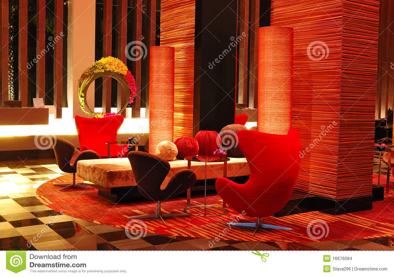 Modern lobby interior in night illumination