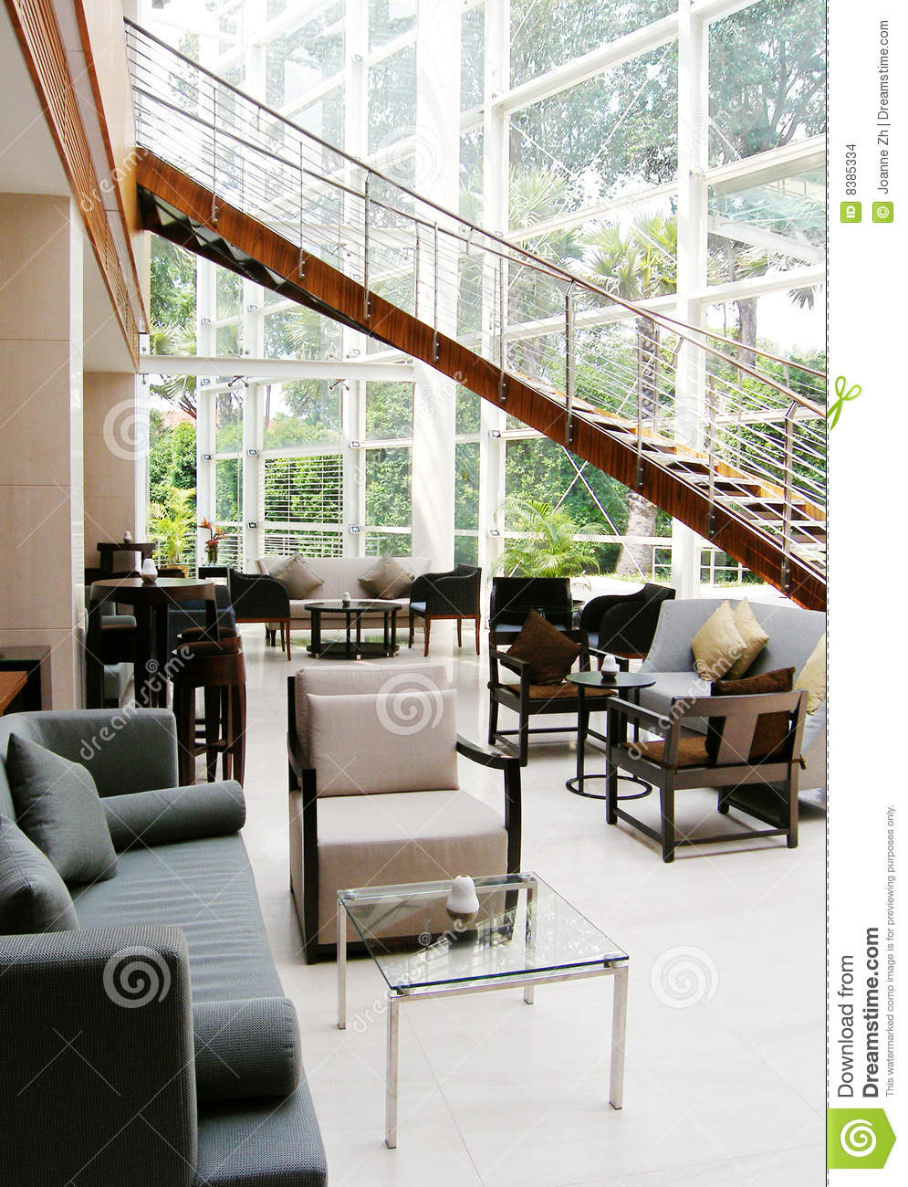 Hotel Interior: Modern Lobby Lounge Interior, Hotel Stock Photo
