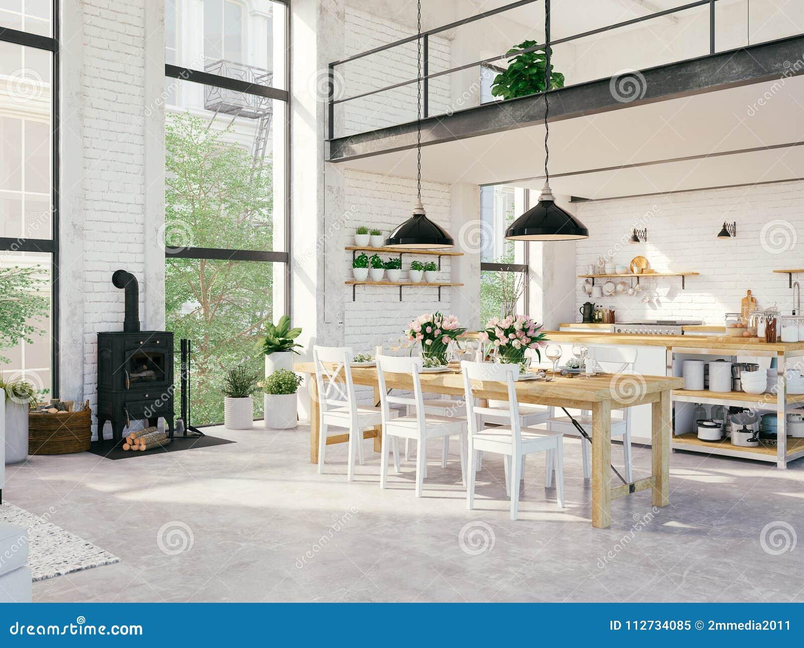 Modern Loft Apartment. 3d Rendering Stock Image - Image of flowers ...