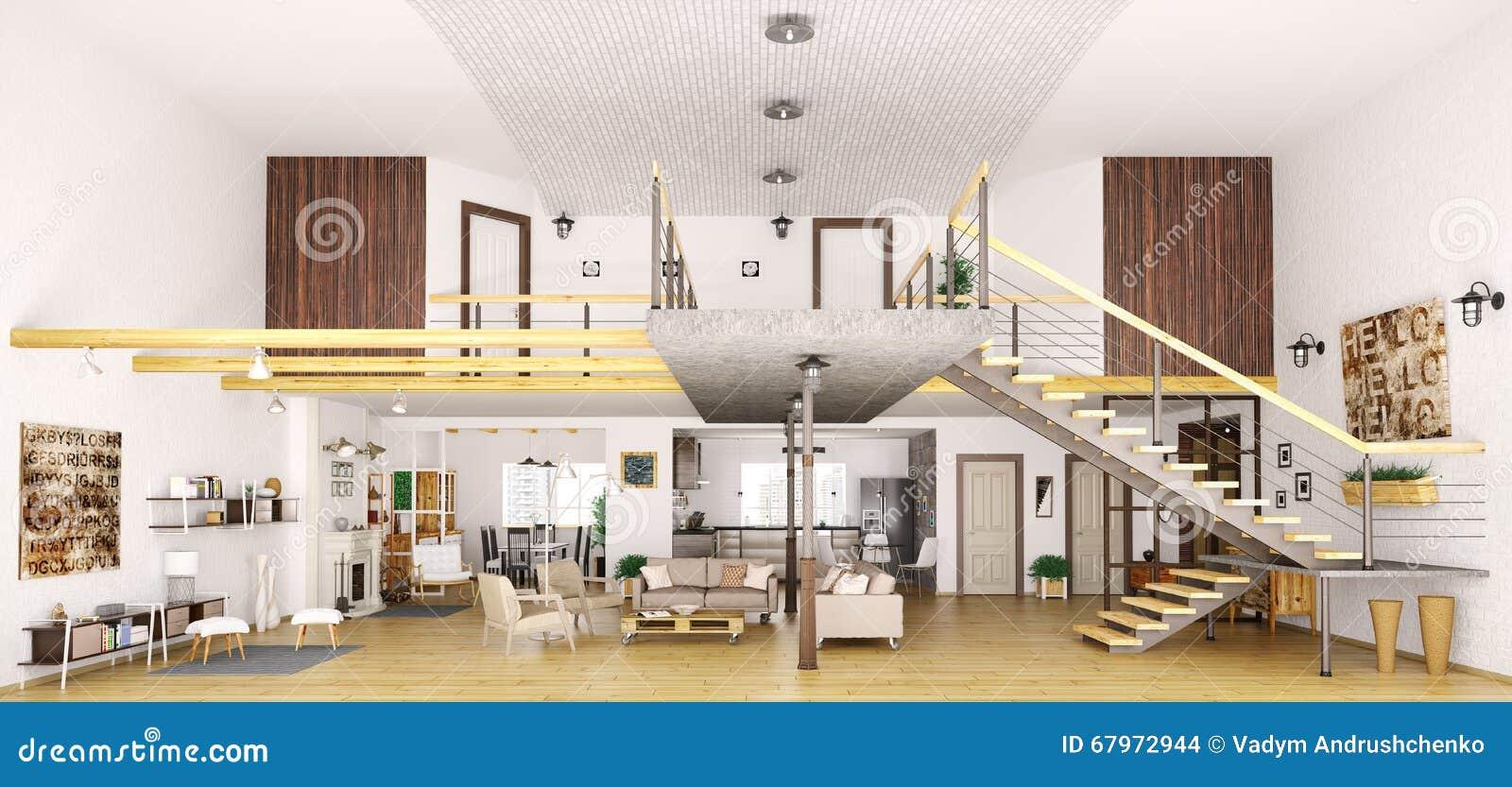 Modern Loft Apartment Interior In Cut 3d Render Stock