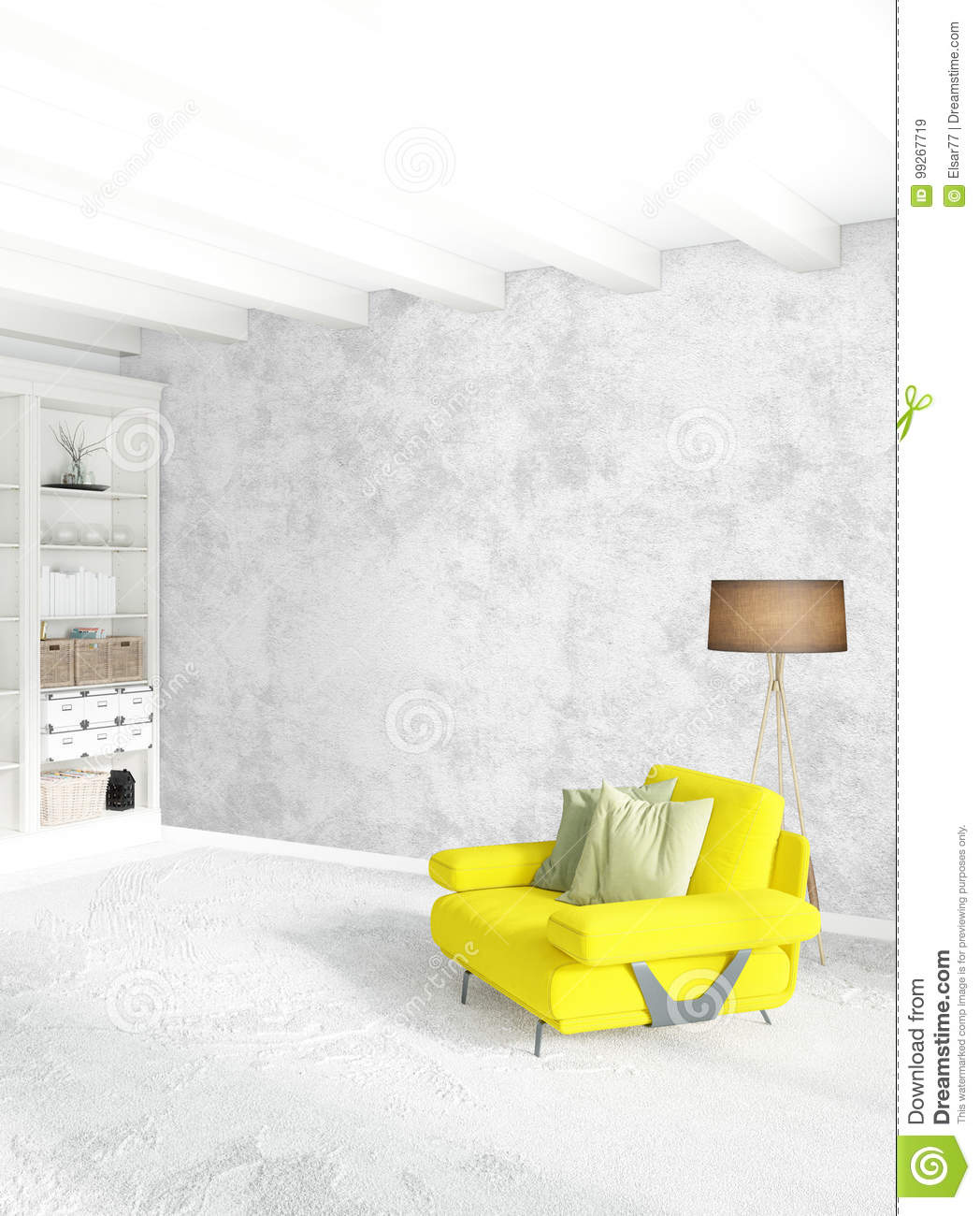 Modern design loft interior bedroom or living room with eclectic wall with space 3d rendering