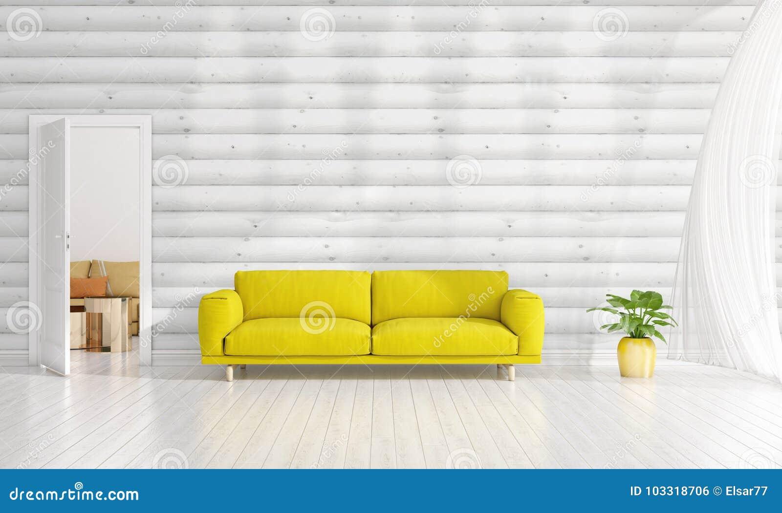 Modern Interior Design Of Livingroom In Vogue With Plant, Yellow Divan,  Copyspace. Horizontal