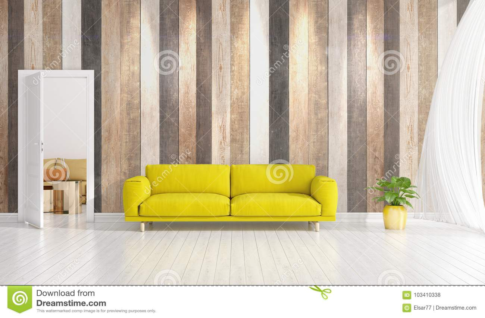 Download Modern Interior Design Of Livingroom In Vogue With Plant, Yellow  Divan, Copyspace.