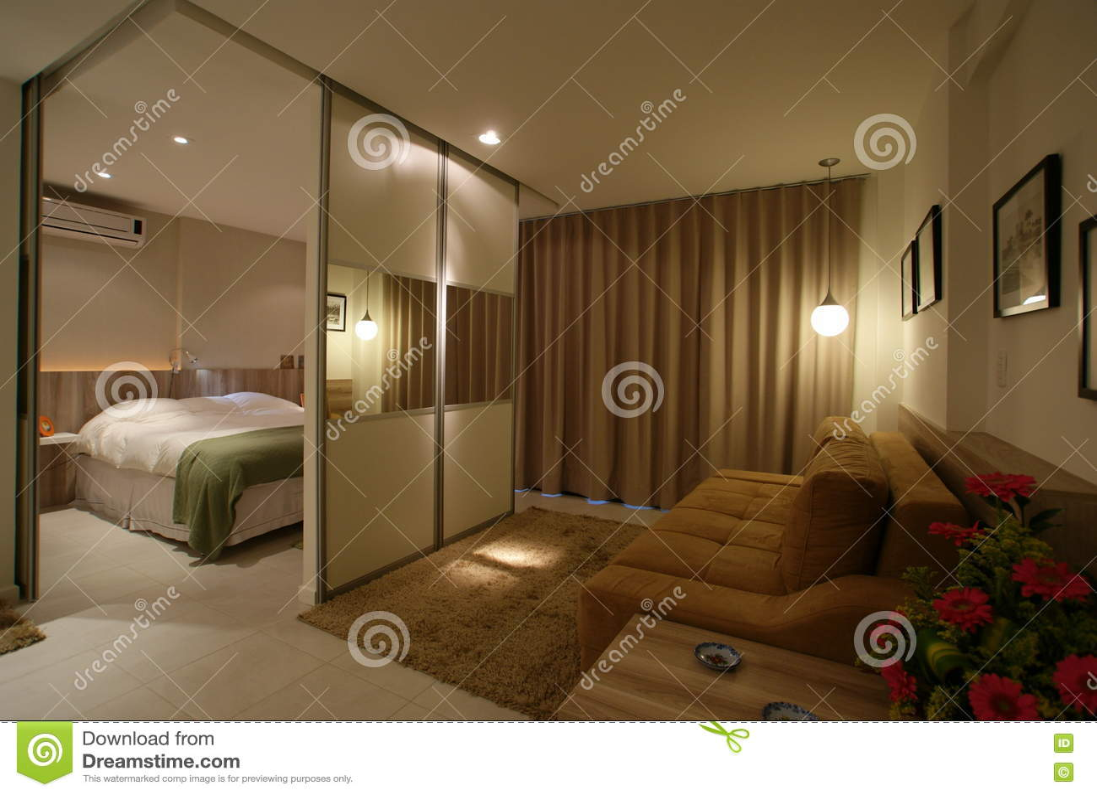 Modern Loft Interior Design With Sliding Doors Stock Photo Image