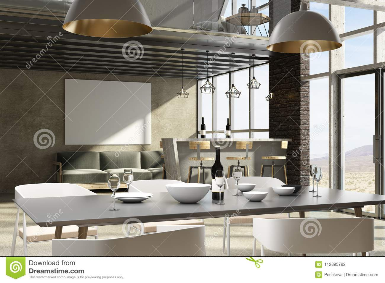 contemporary loft furniture. Contemporary Loft Living Room/ Restaurant Interior With Furniture, Landscape View And Empty Banner. 3D Rendering Furniture N