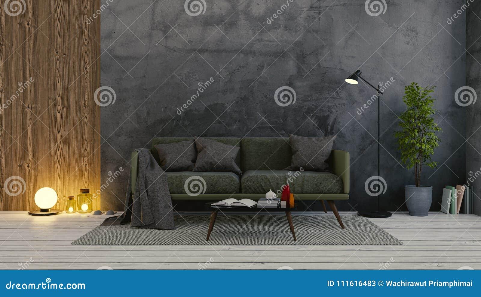 Modern Loft Interior Of Living Room,dark Green Sofa On White ...