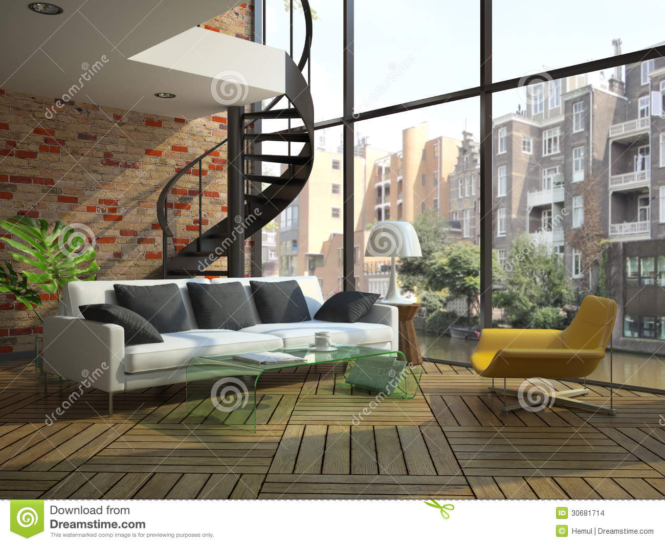 Modern loft interior with part of second floor stock for On the floor on the floor