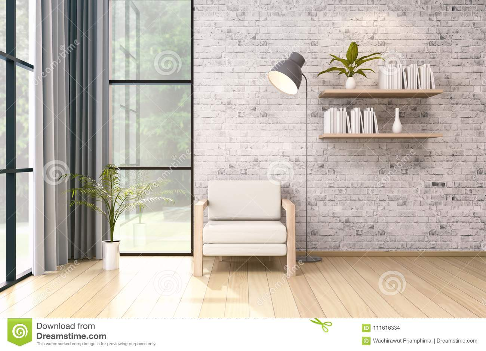 modern loft interior design , white chair and black lamp on brickmodern loft interior , white chair and black lamp on brick wall, 3d render