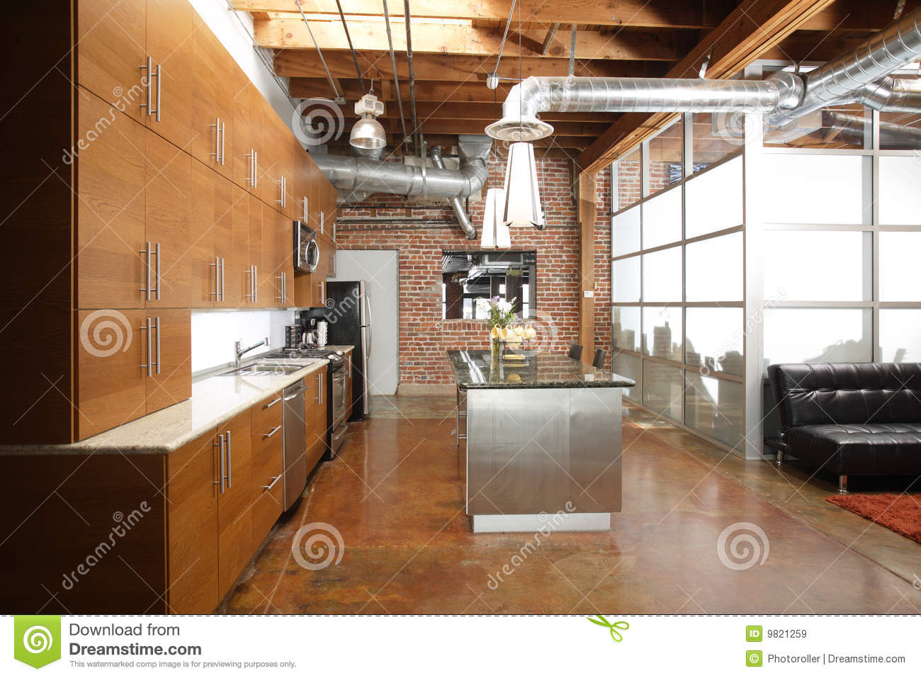 Modern Loft Kitchen Stock Image Image Of Floor Empty