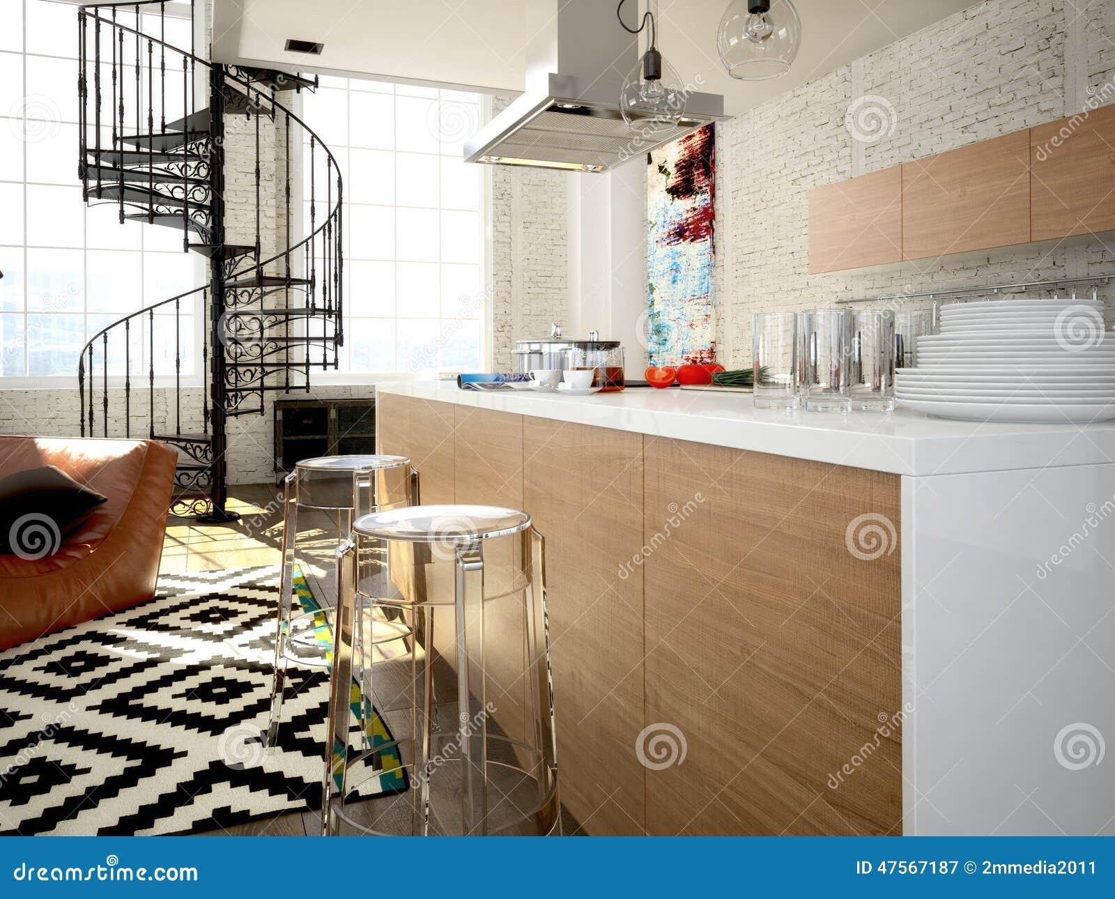 Loft Kitchen Modern Loft With A Kitchen 3d Rendering Stock Illustration