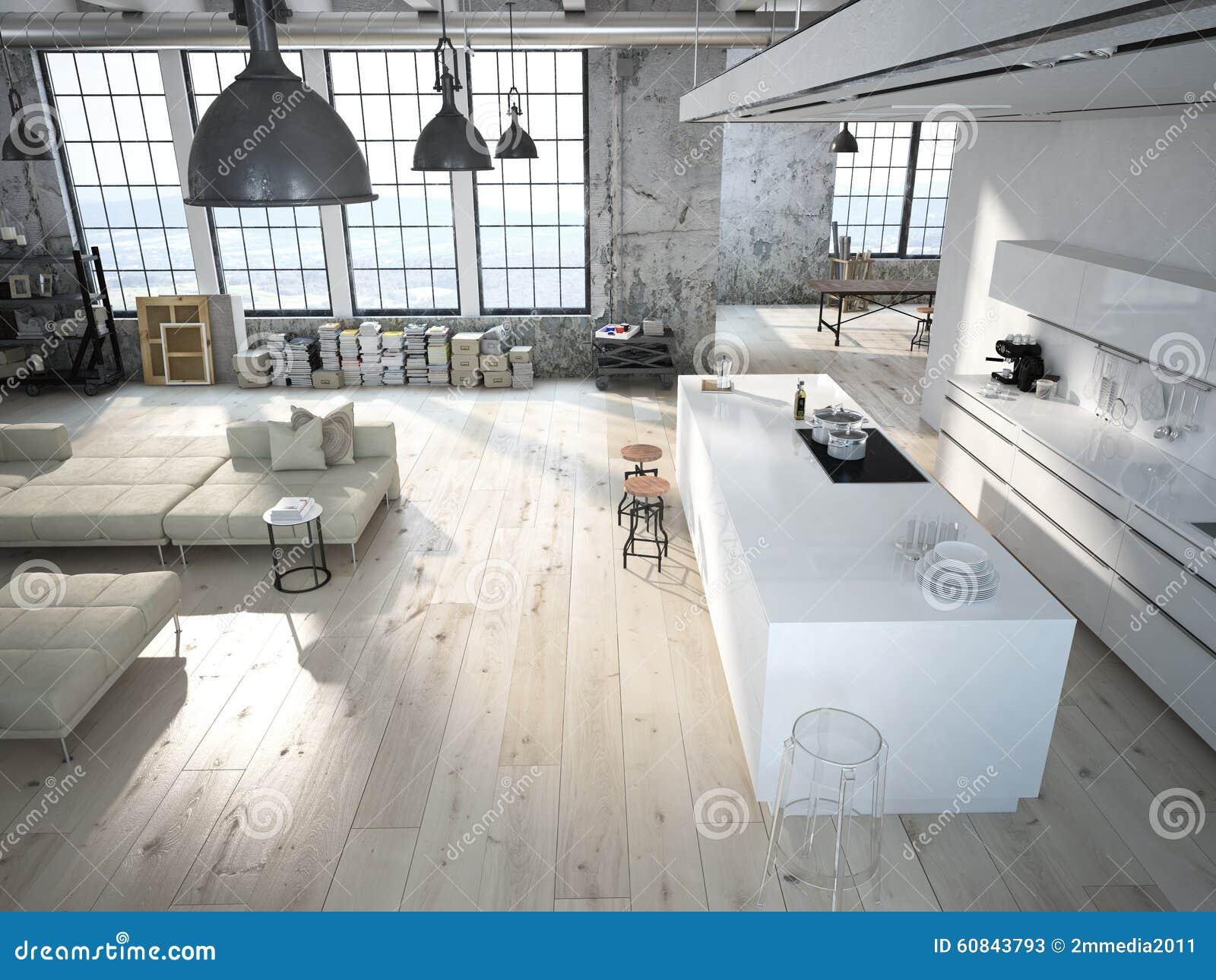 modern loft with a kitchen 3d rendering stock photo image 60843793. Black Bedroom Furniture Sets. Home Design Ideas