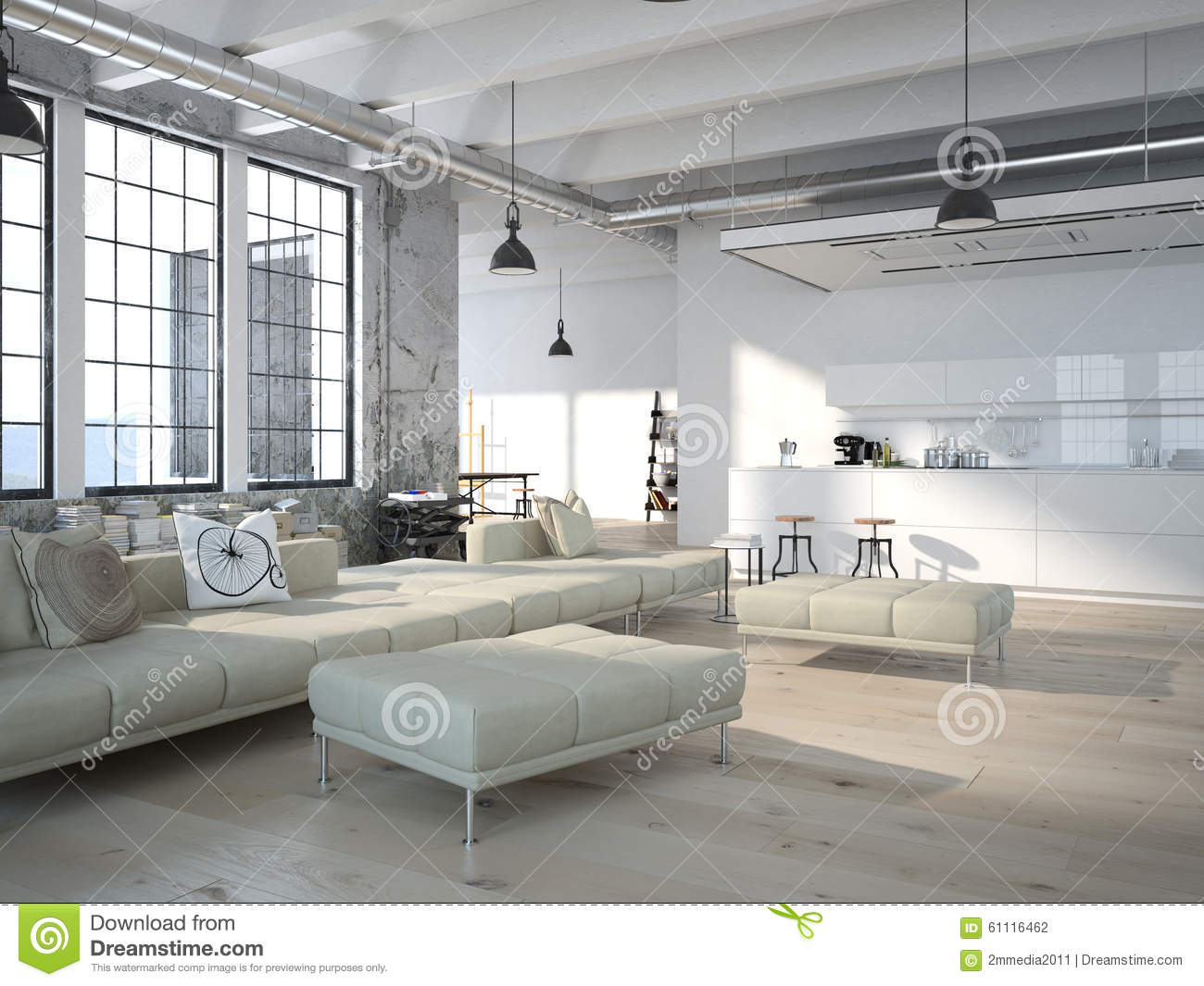 Modern Loft With A Kitchen .3d Rendering Stock Illustration ...